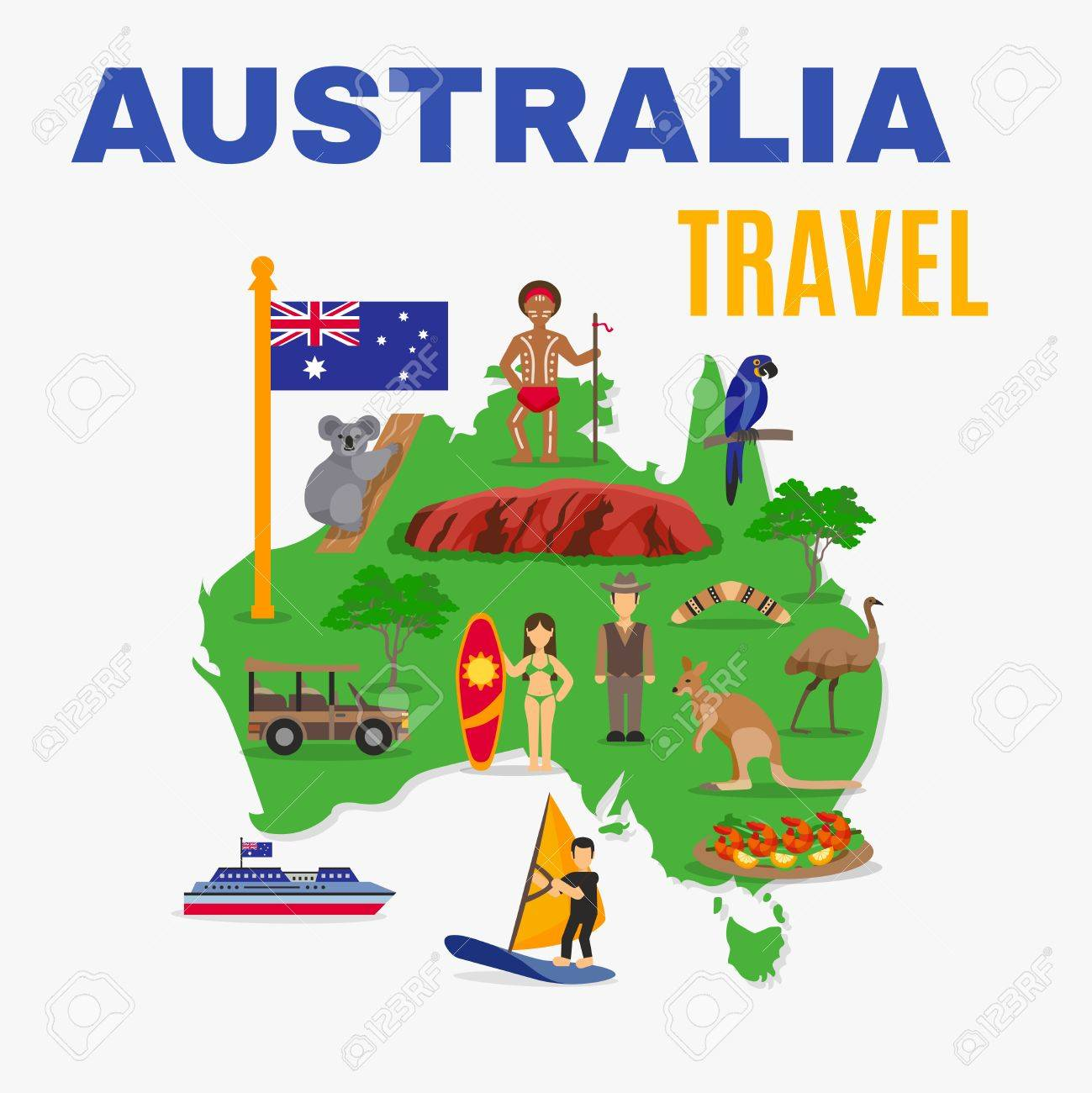 australia travel map poster with animals food people transport at green continent on white background vector