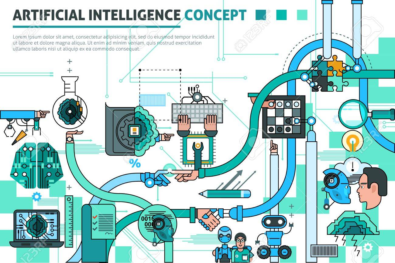 Artificial intelligence concept line composition with communication symbols flat vector illustration - 53875774