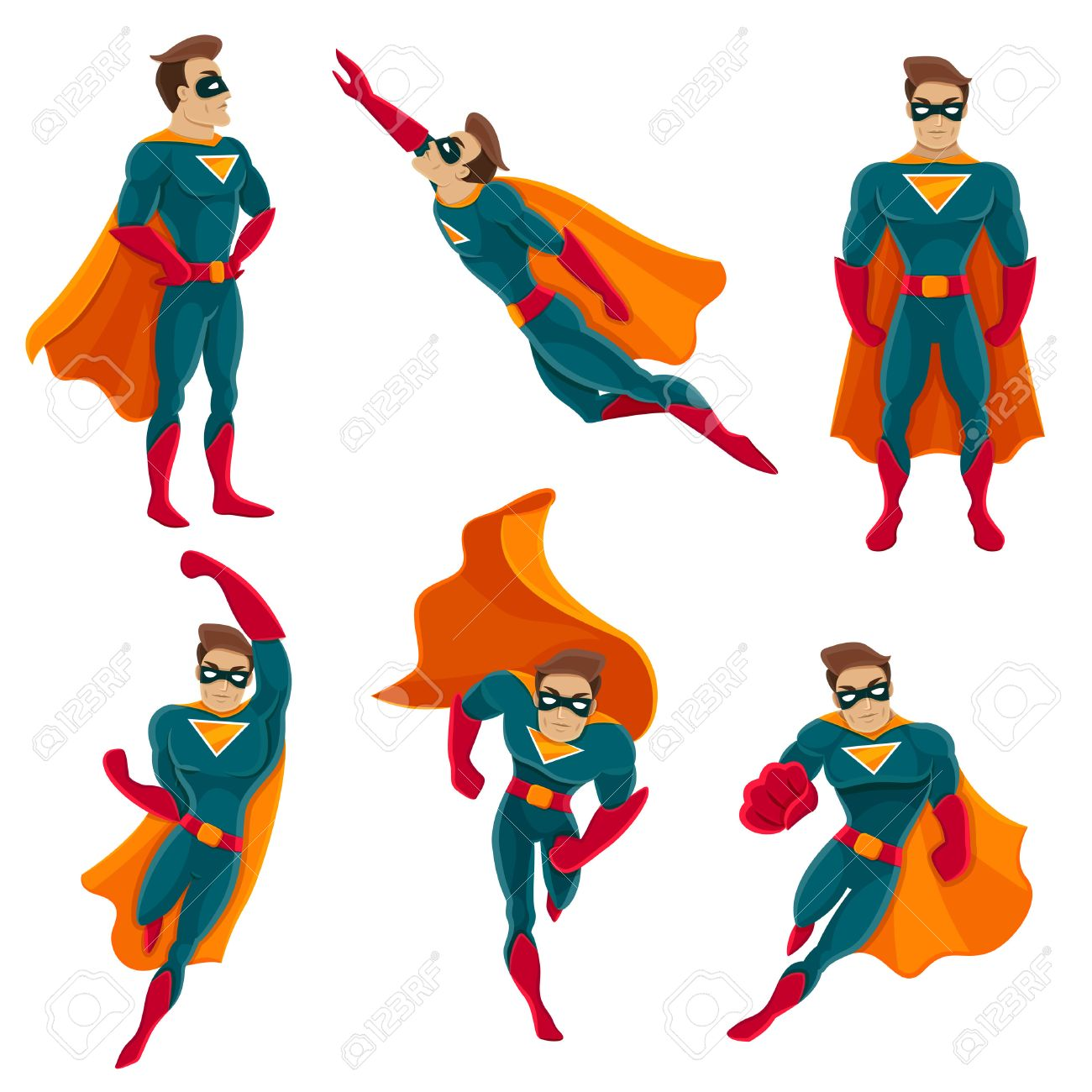 Superhero actions icon set in cartoon colored style different poses vector illustration Stock Vector - 53878469
