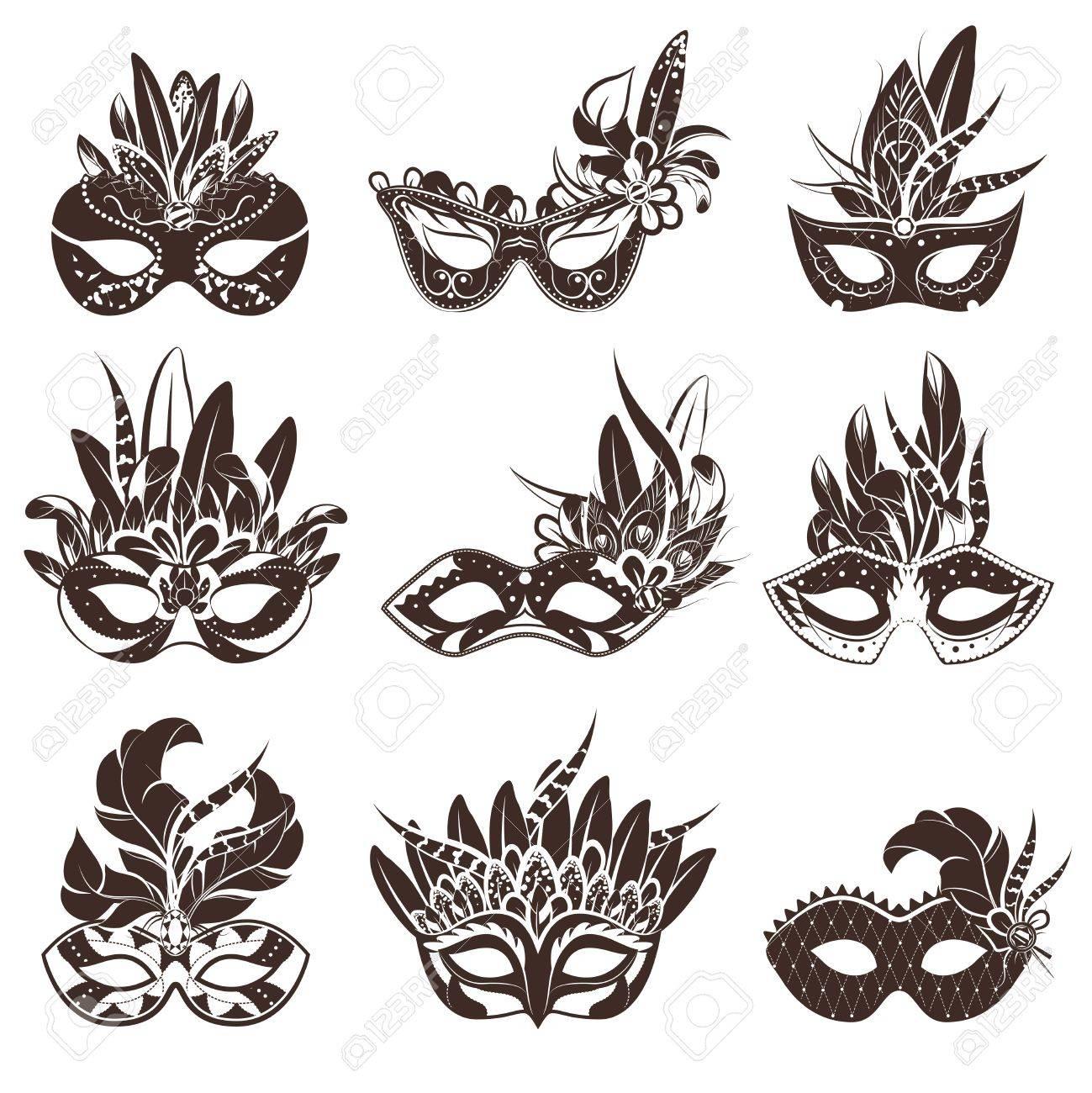 Máscara Blanco Iconos Conjunto Negro Para La Ilustración Vectorial ...