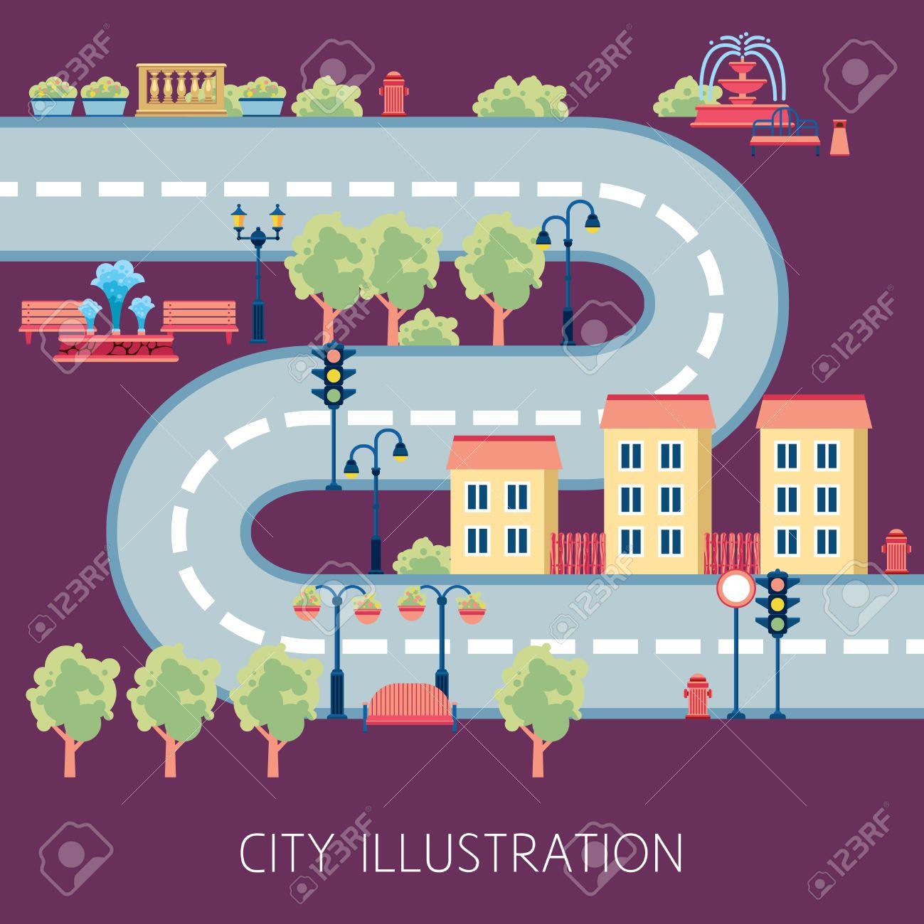 City Street Flat Design Schema For Navigator Or Kids Floor Play ...