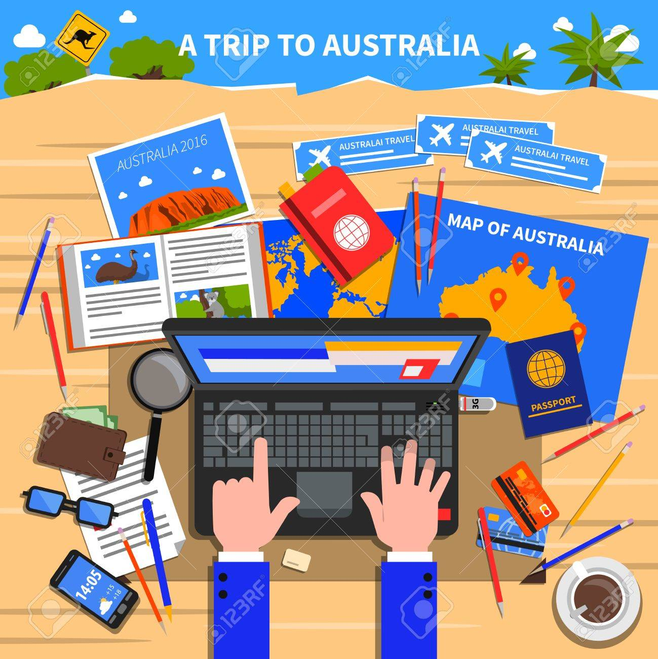 trip to australia concept with planning and calculating expenses