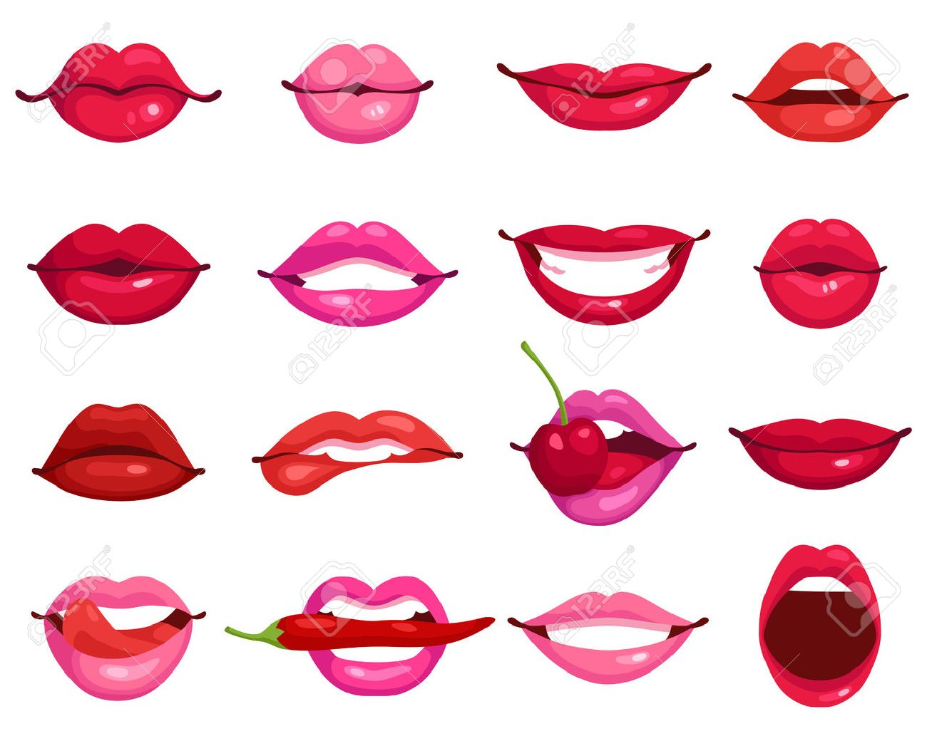 Red and rose kissing and smiling cartoon lips isolated decorative icons for party presentation vector illustration Stock Vector - 53878879