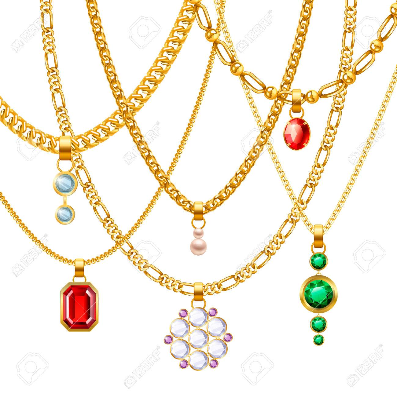 Golden Jewelry Chains Set With Different Pendants Realistic Vector ...