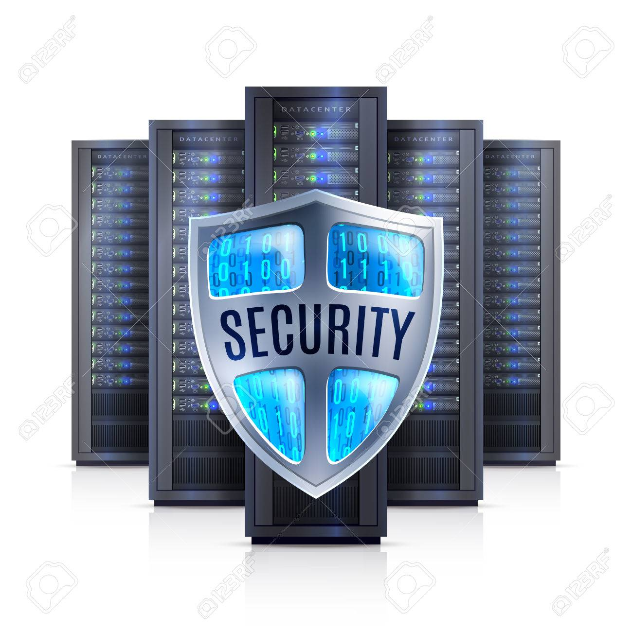 Computer server racks with security shield protection symbol black on white background realistic isolated vector illustration - 54629305