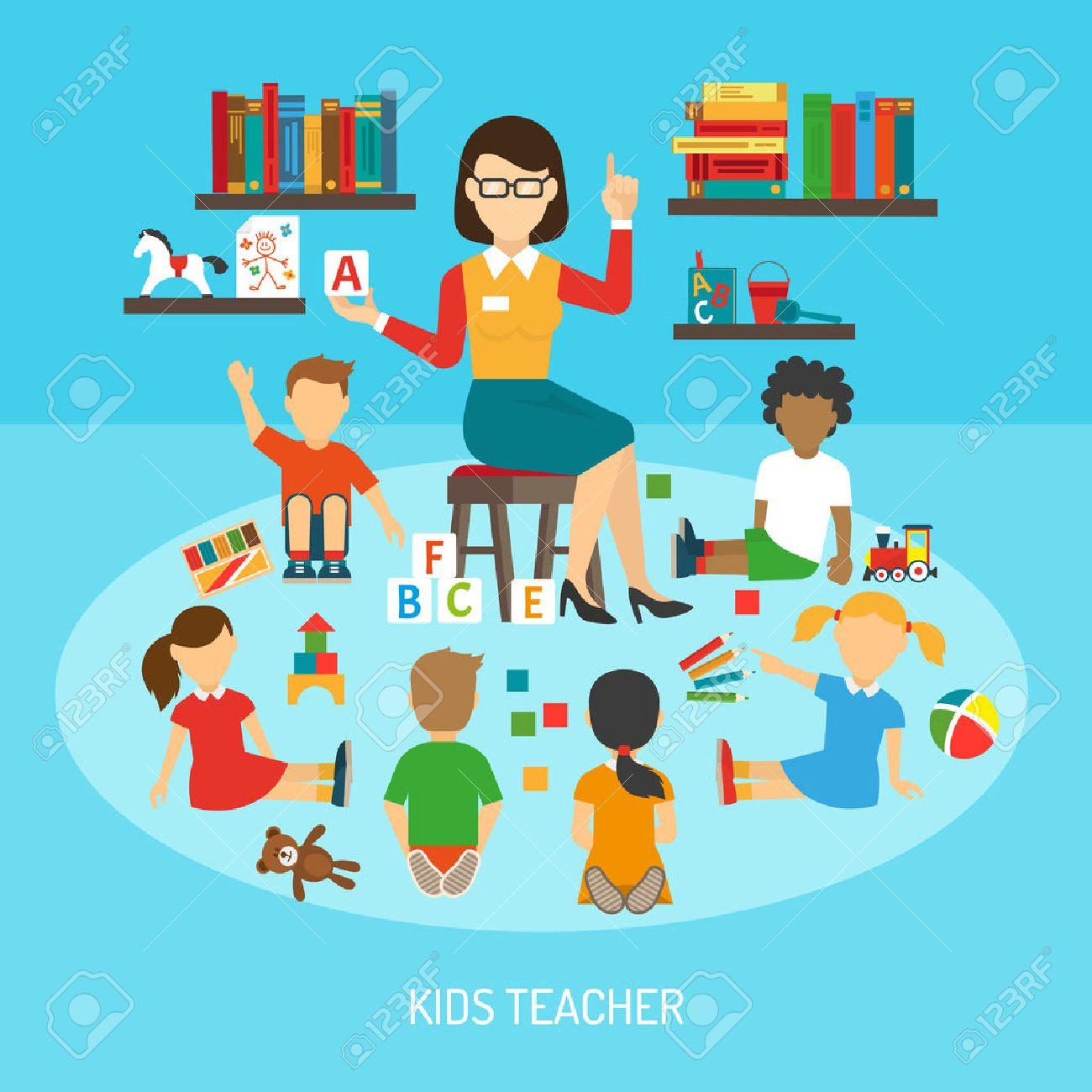 teacher cartel de jardn de infancia del profesor de los nios en sala de