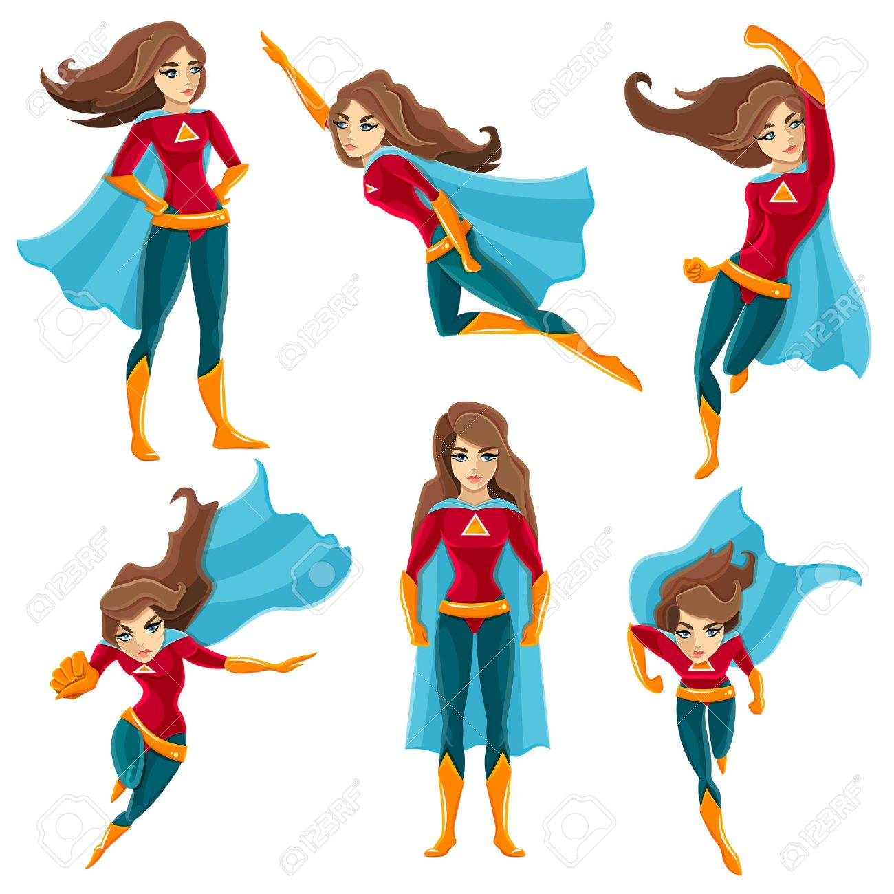 Longhaired superwoman actions set in cartoon colored style with different poses vector illustration Stock Vector - 54629321
