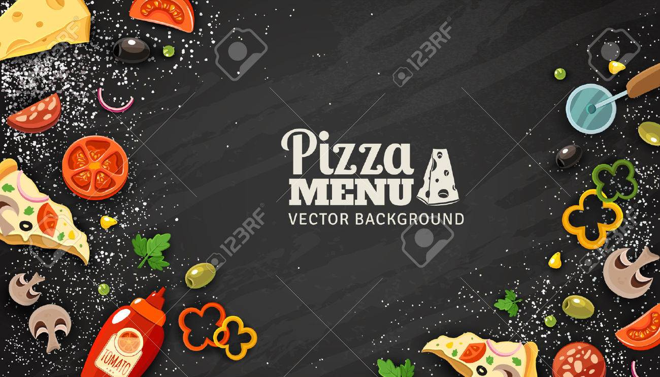 Pizza menu chalkboard cartoon background with fresh ingredients vector illustration Stock Vector - 54629384