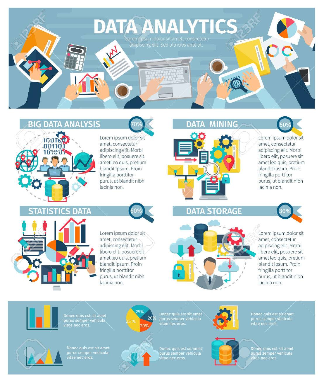 Big data mining analysis exchange statistics and storage technology infographic elements presentations poster flat abstract illustration vector - 54629386