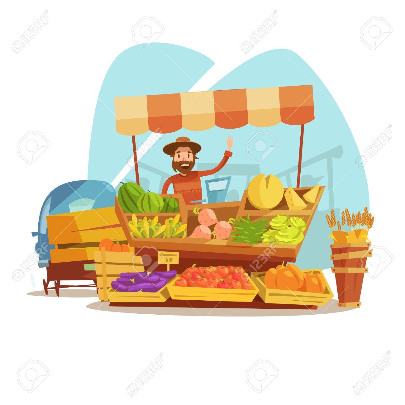 Cartoon agricultor carro, Mercado De Verduras, Mercado De ...