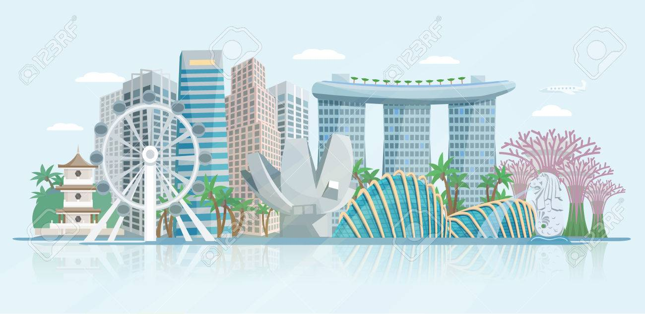 Singapore skyline panoramic view with modern central business district skyscrapers and historical temple building abstract vector illustration - 54668789