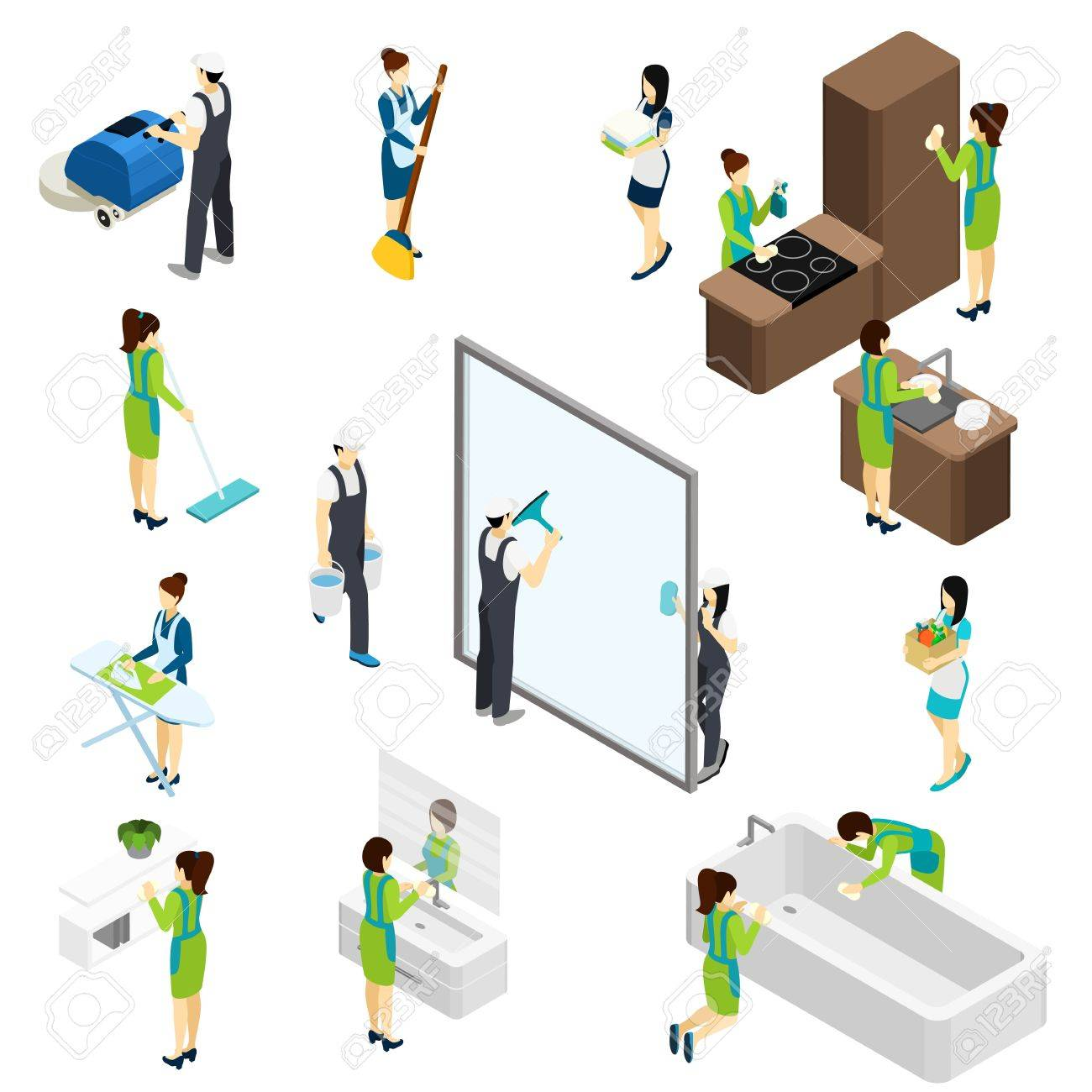 Professional Cleaning Team At Work Isometric Icons Composition ...