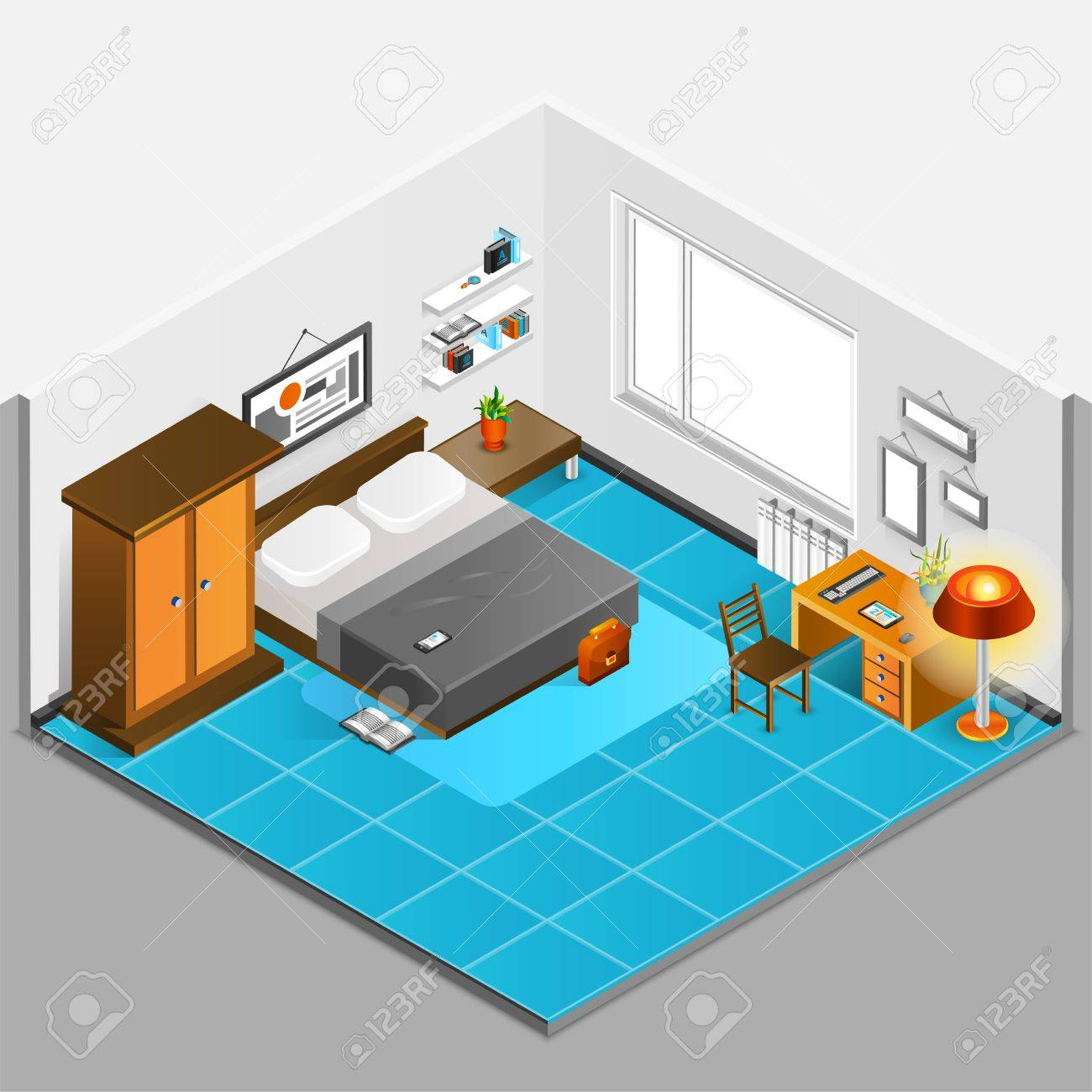 Home Interior Isometric Concept With Bedroom Design And Furniture Royalty Free Cliparts Vectors And Stock Illustration Image 54733396