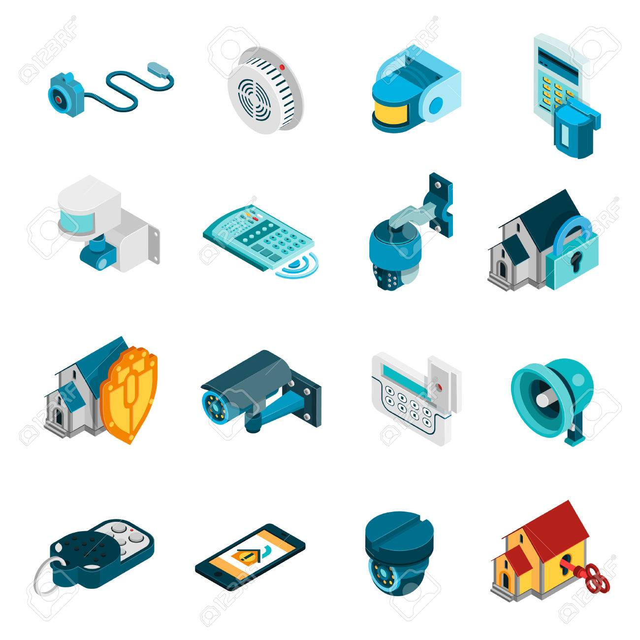 Security system isometric icons set with alarm and camera symbols isolated vector illustration - 54733400