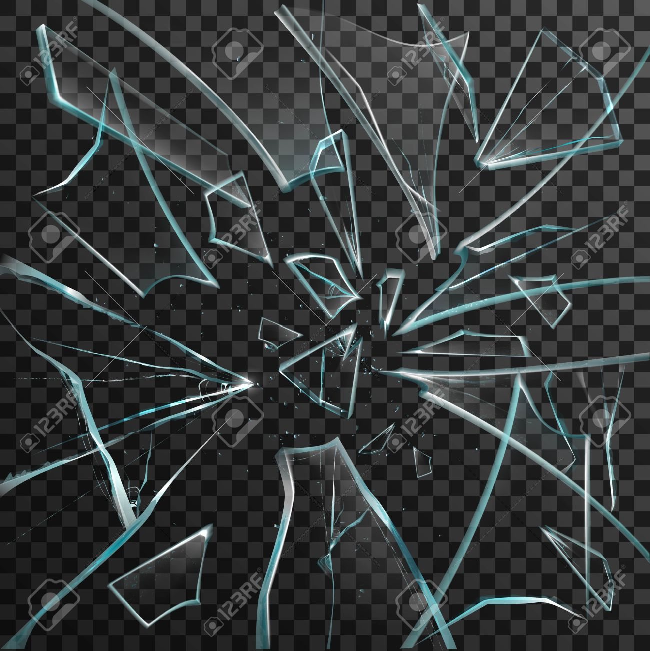 Realistic shards of transparent broken glass on abstract grey and black background vector illustration - 54734649