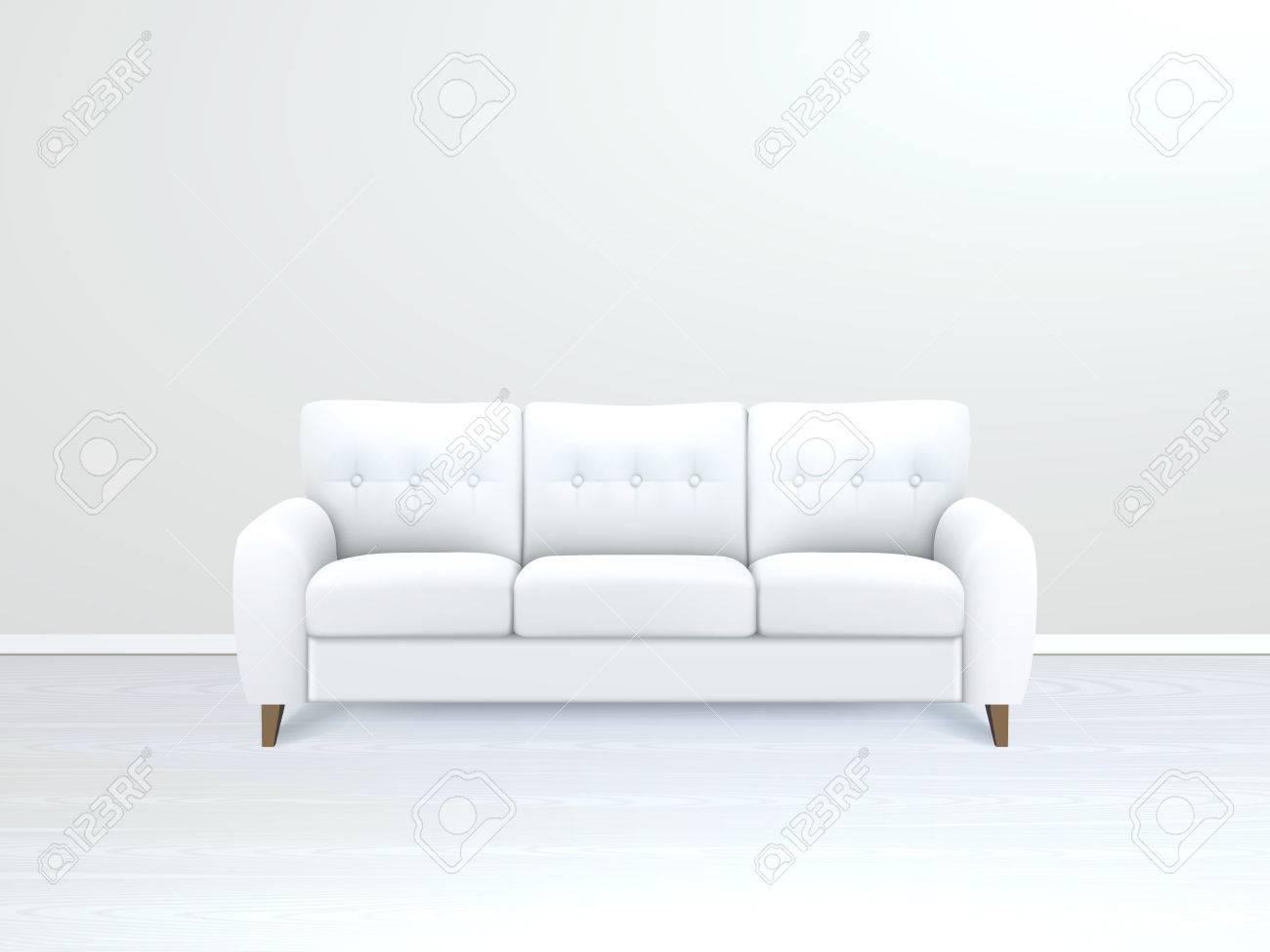 Weiss Weichen Luxus Leder Sofa In Der Modernen Wohnung Salon