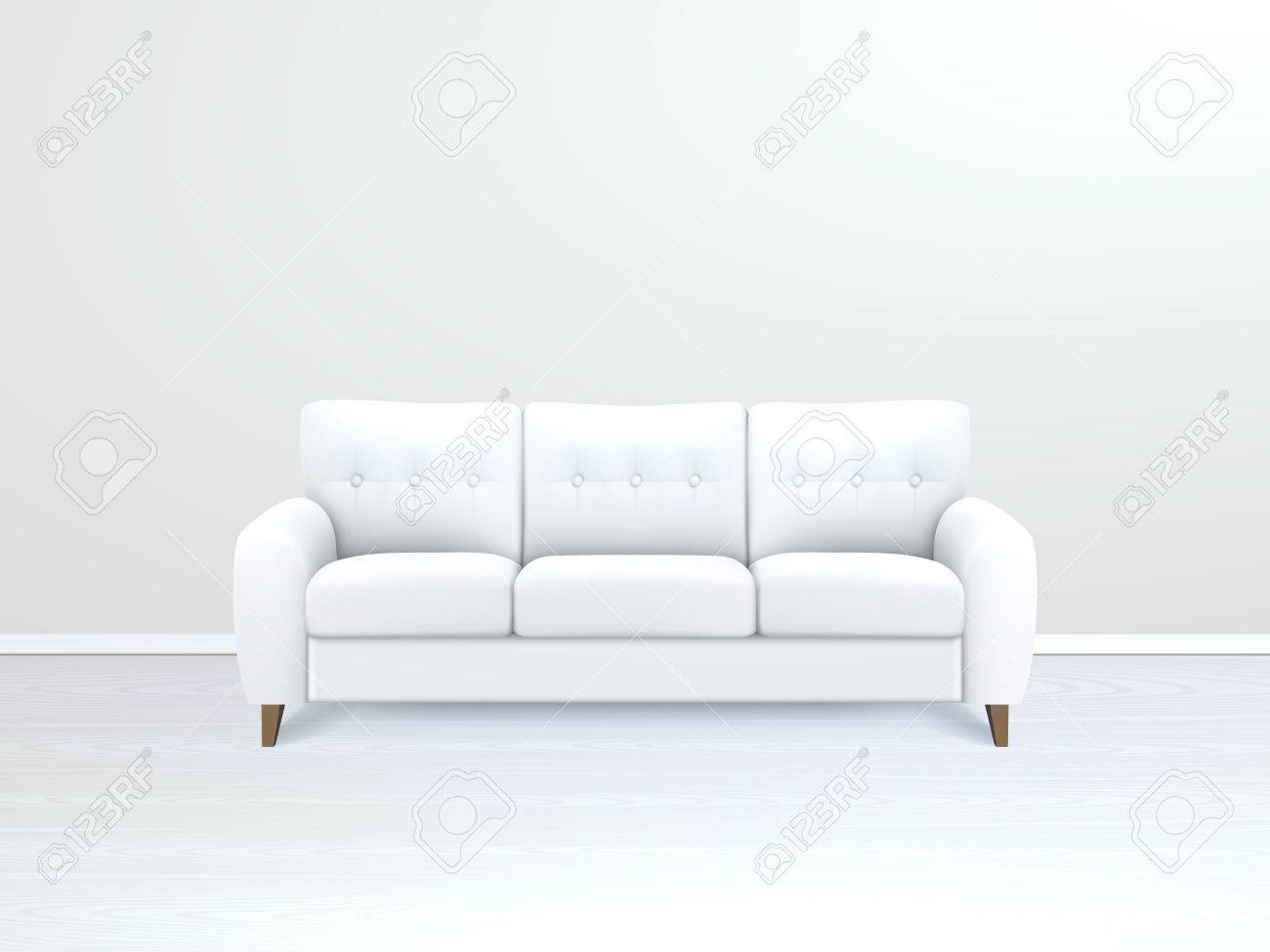 White soft luxury leather sofa in modern apartment salon art..