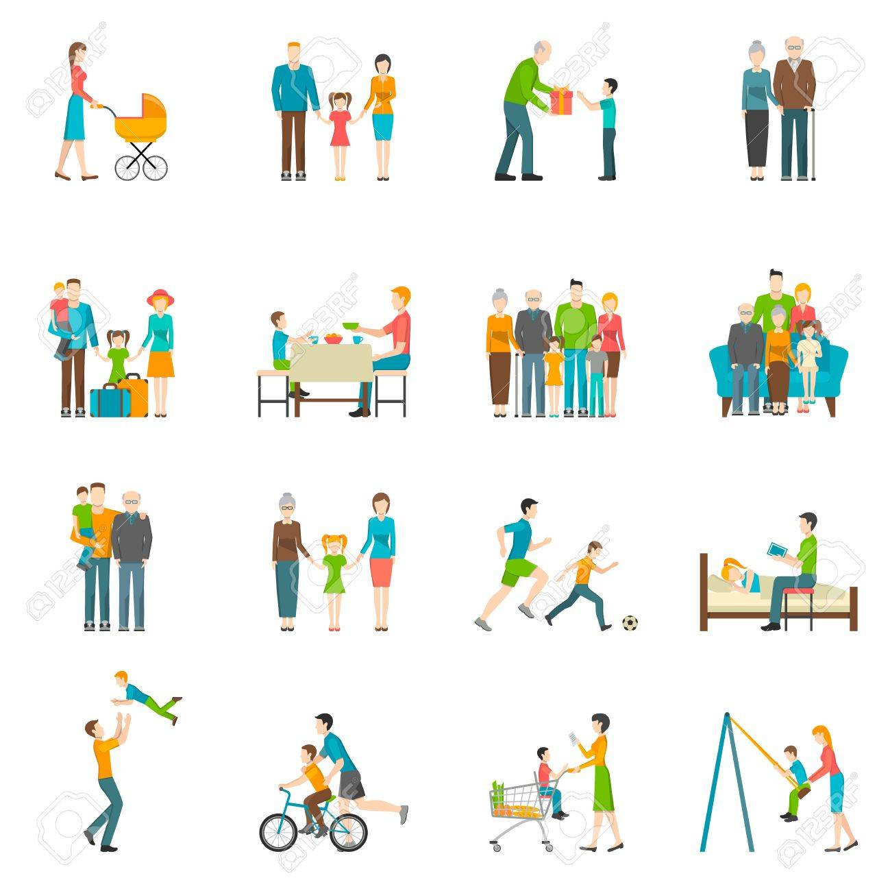 Set of icons with white background depicting moments of happy family life vector illustration - 54689562