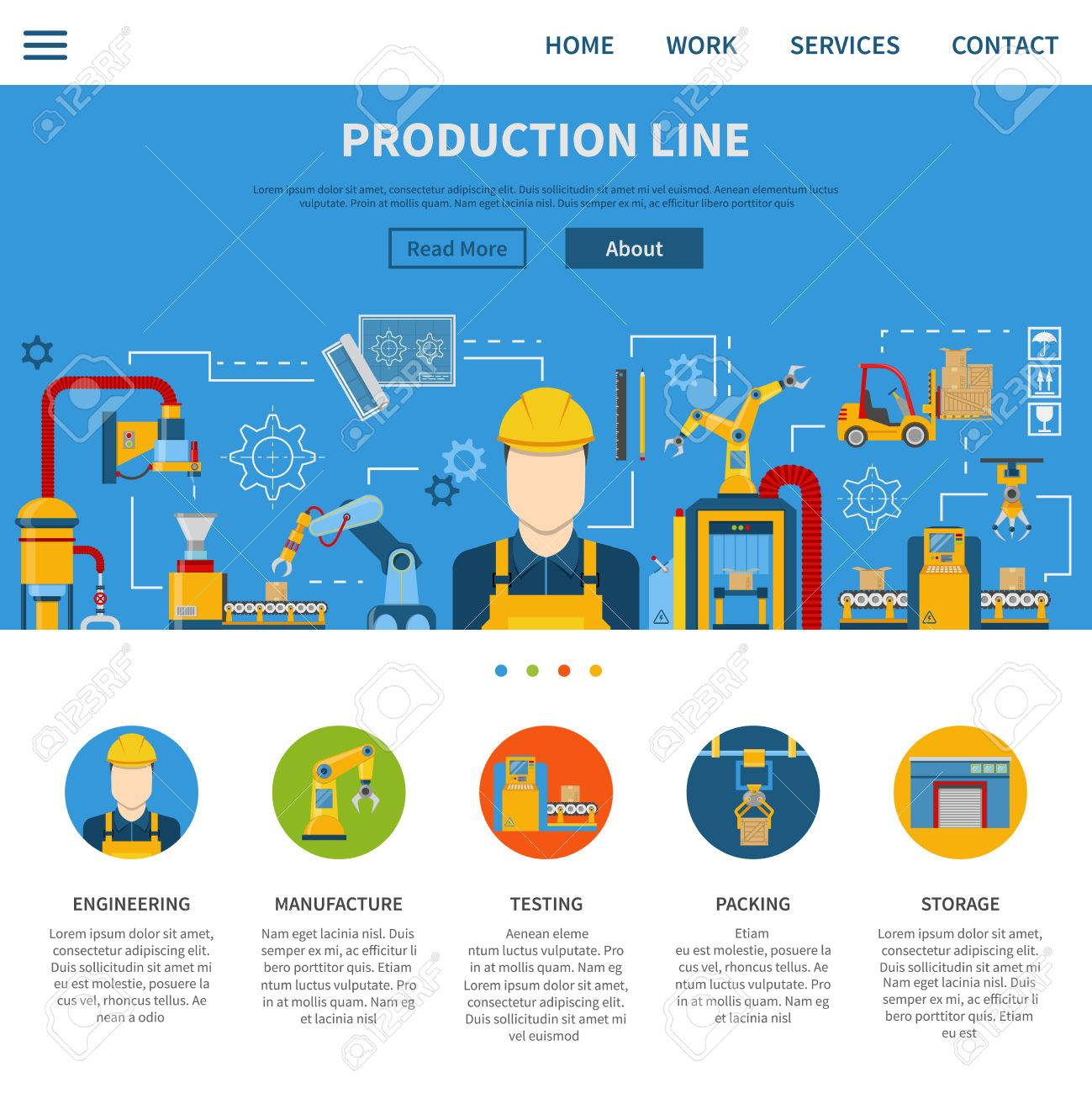 One web page about industrial production line and description process from engineering manufacture testing to packing and storage vector illustration - 54689569
