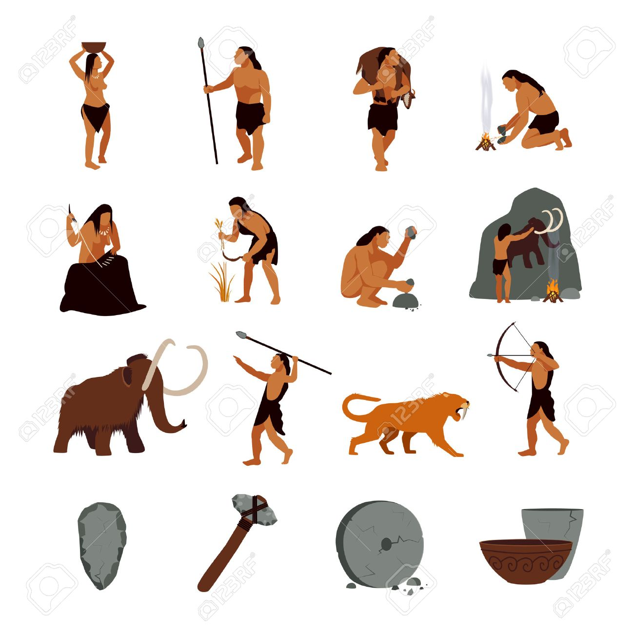 Prehistoric stone age icons set presenting life of cavemen and their primitive tools flat isolated vector illustration - 54692169