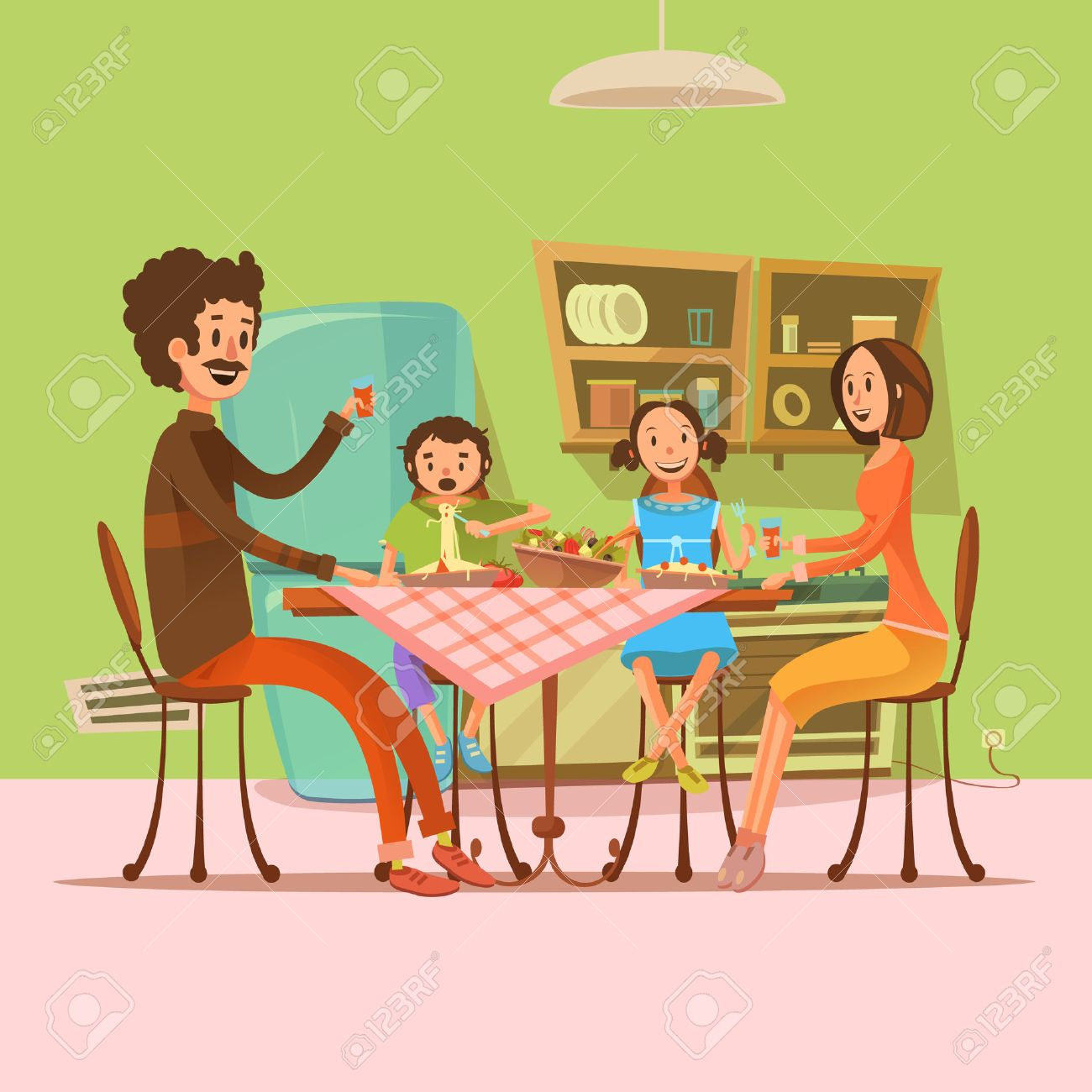 Cartoon kitchen table - Family Having Meal In The Kitchen With Fridge And Table Retro Cartoon Vector Illustration Stock Vector