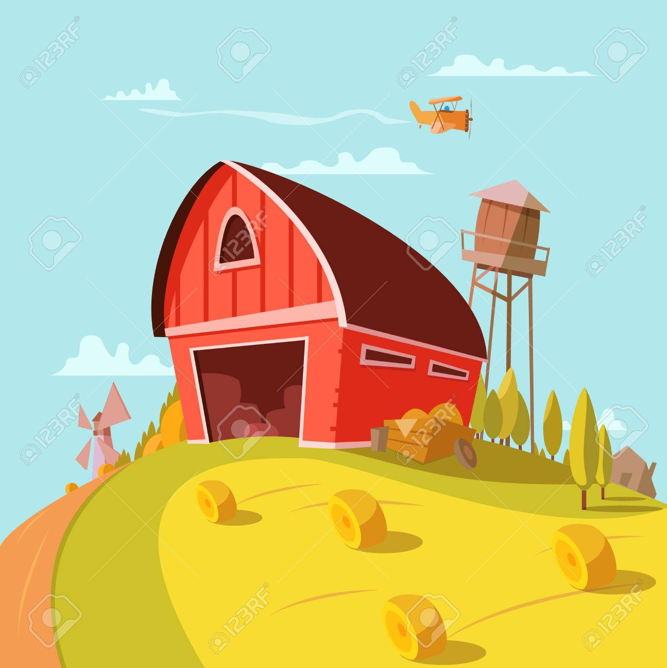 Farm Building Cartoon Background With Fields Grain And Hay Vector Illustration Stock