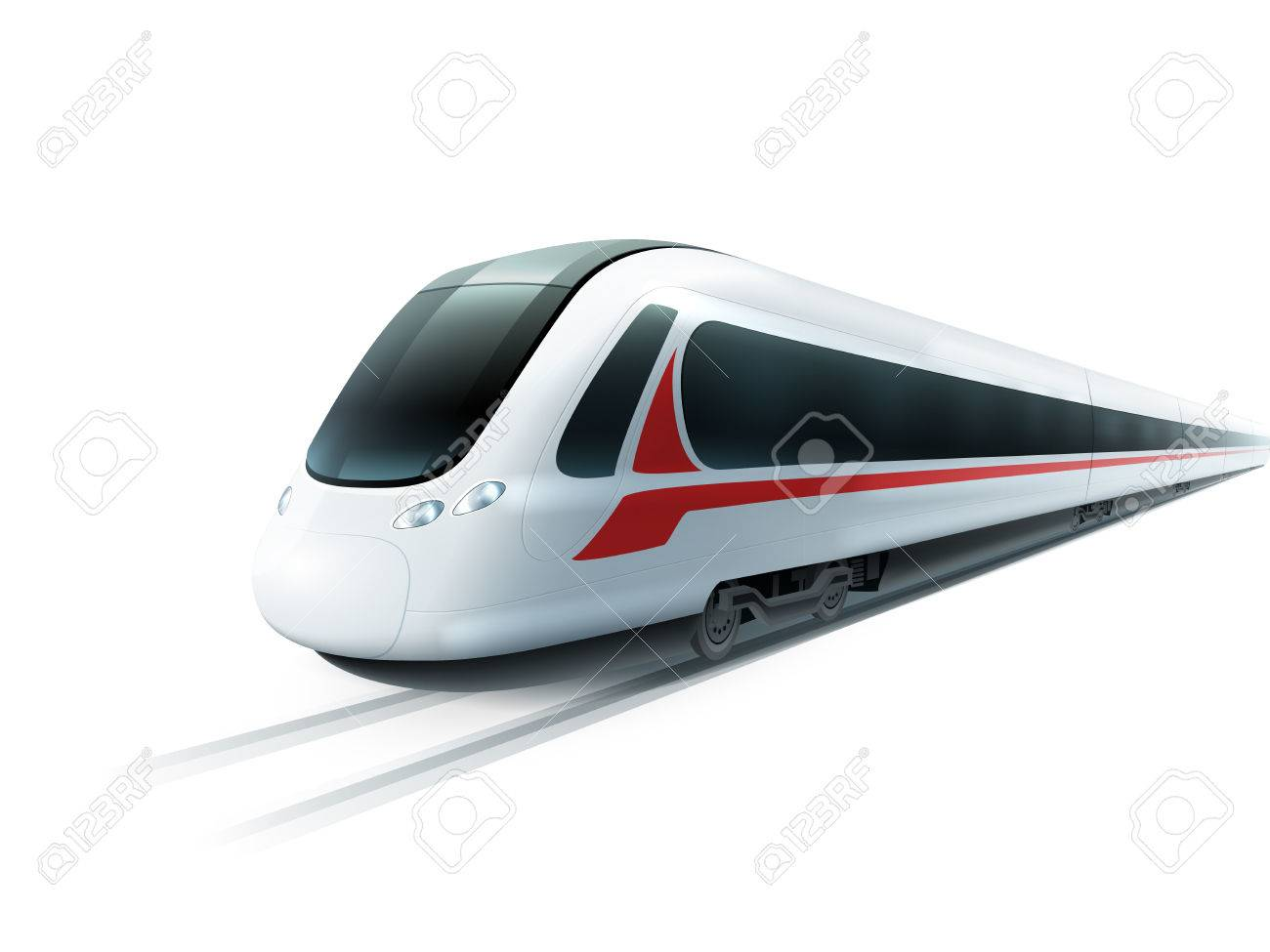 Super streamlined high-speed train on white background emblem realistic image ad poster isolated vector illustration - 54692337