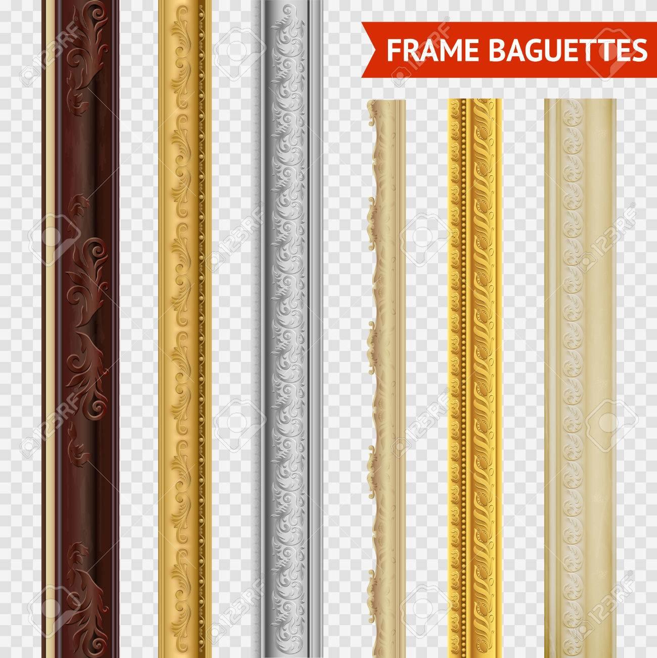 Baguette En Bois Decorative frame baguette set on transparent background wood carving baroque..