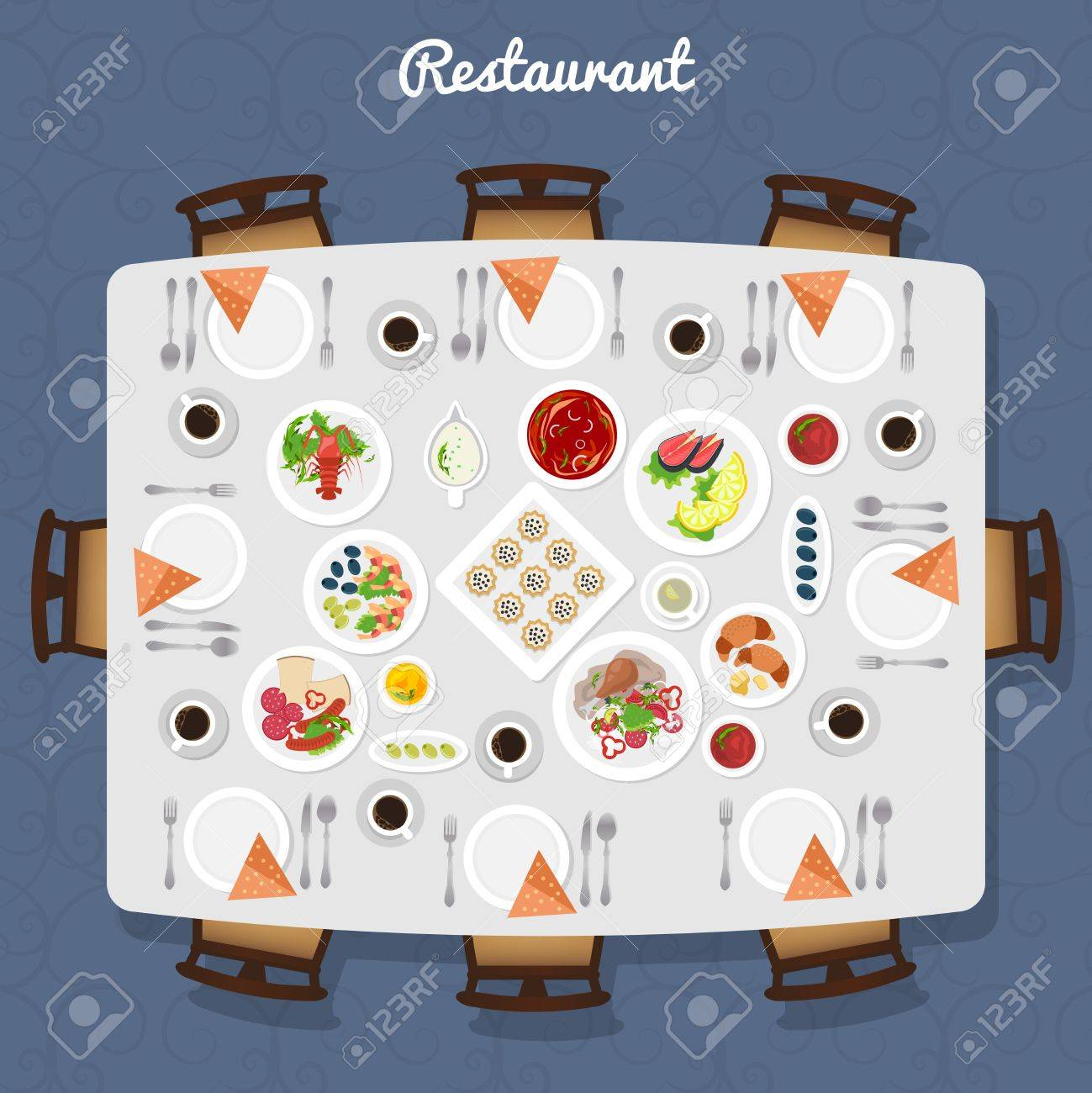 Restaurant Table poster with different meals and free places around top view vector illustration Stock Vector - 54757693