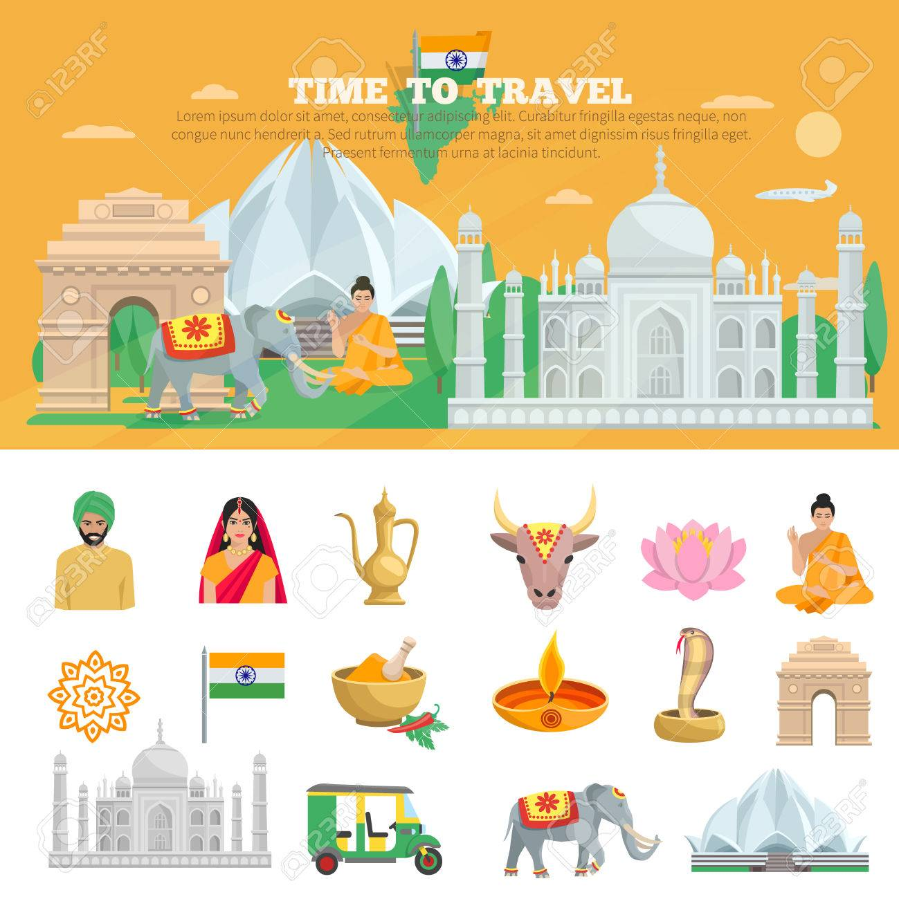 India Travel Set With Tourist Objects And Symbols Of Country