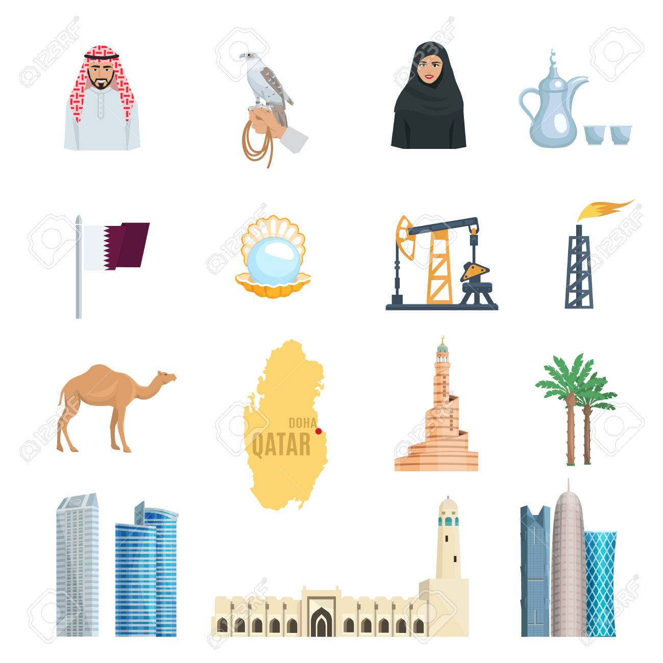 Qatar flat icons set with oil natural gas mosques skyscrapers qatar flat icons set with oil natural gas mosques skyscrapers and symbols of culture isolated vector biocorpaavc