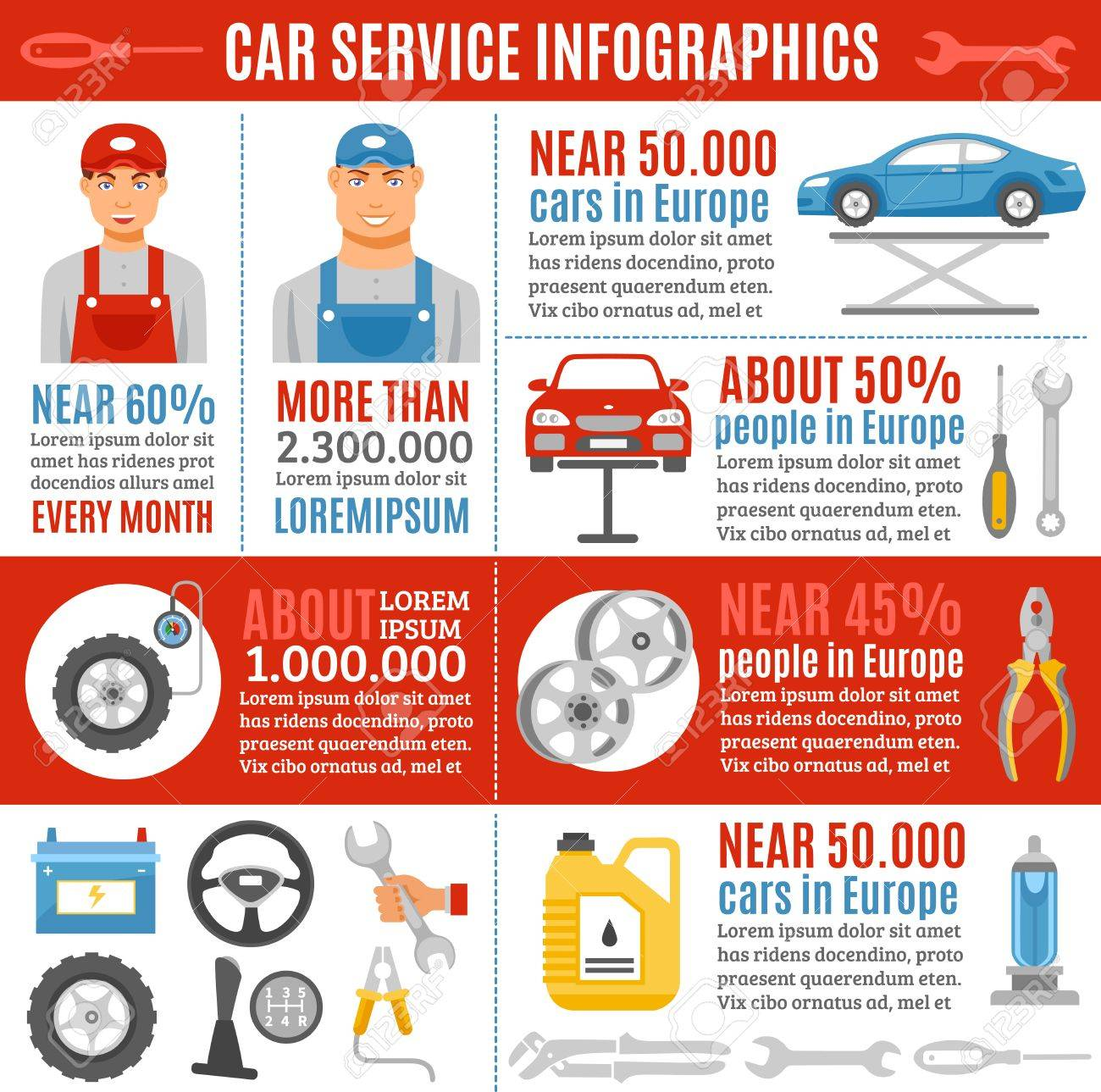 Automobile And Trucks Repair Infographic Poster With Information ...