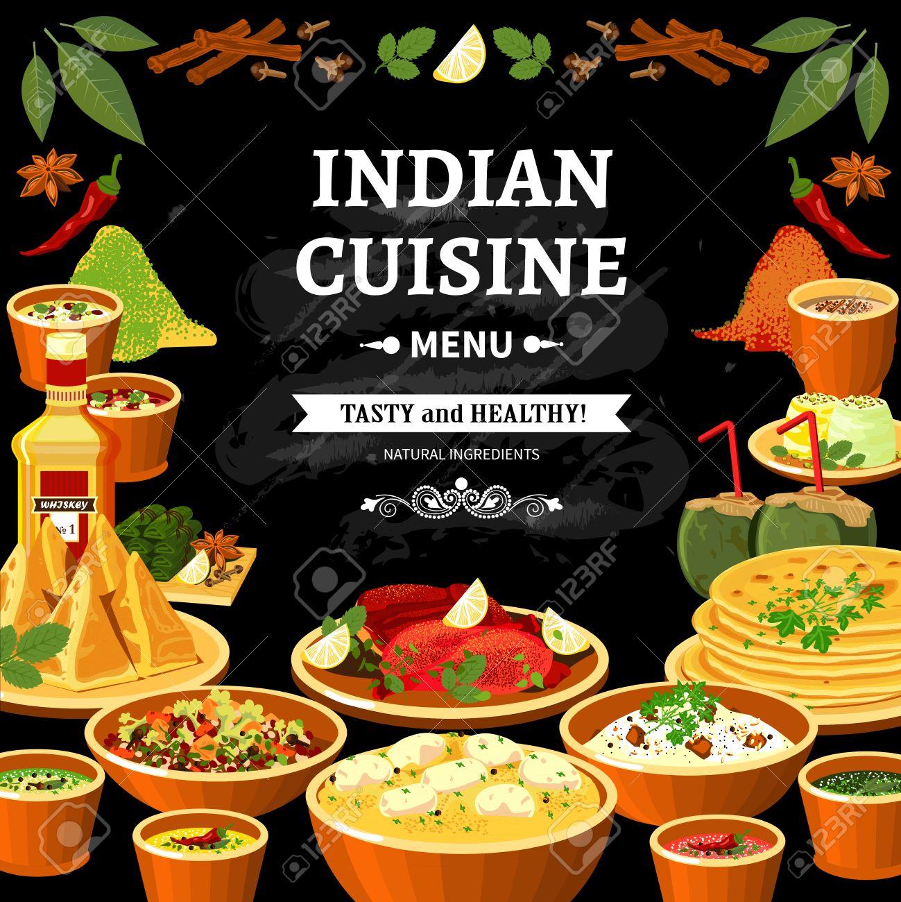 Cocina India Menú Del Restaurante Cartel Negro De La Tarjeta Con ...
