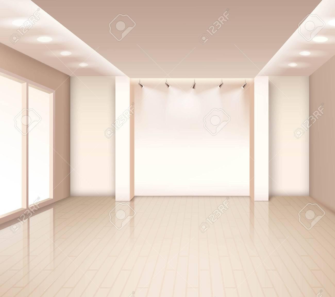 Intérieur chambre moderne vide avec fenêtres éclairage au plafond couleur  rose pâle illustration vectorielle