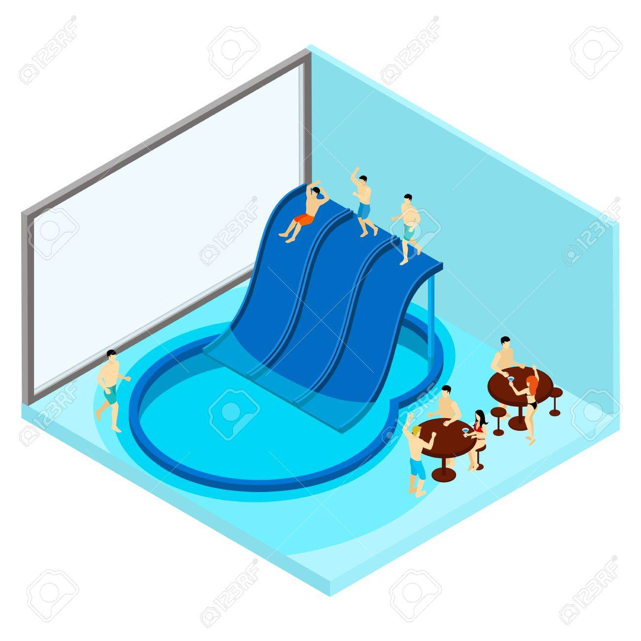 indoor water park with tables and water slides isometric vector rh 123rf com  water park images clip art