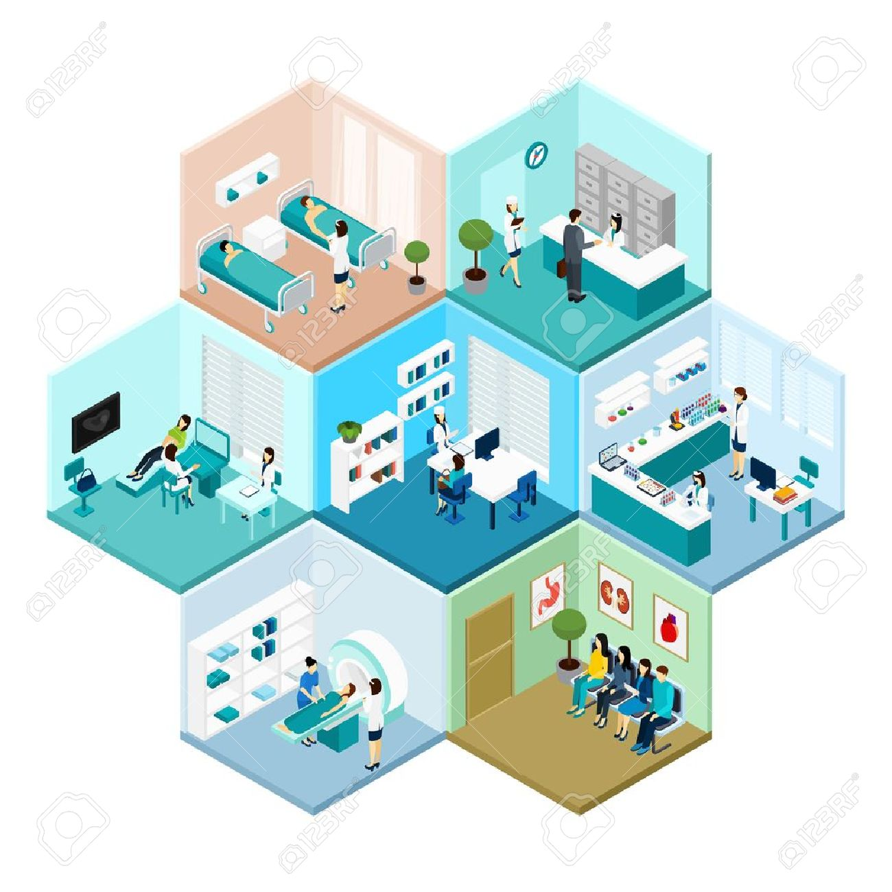 Hospital reception examination and waiting rooms interior tessellated honeycomb hexagonal isometric composition pattern abstract vector isolated illustration Stock Vector - 54765838