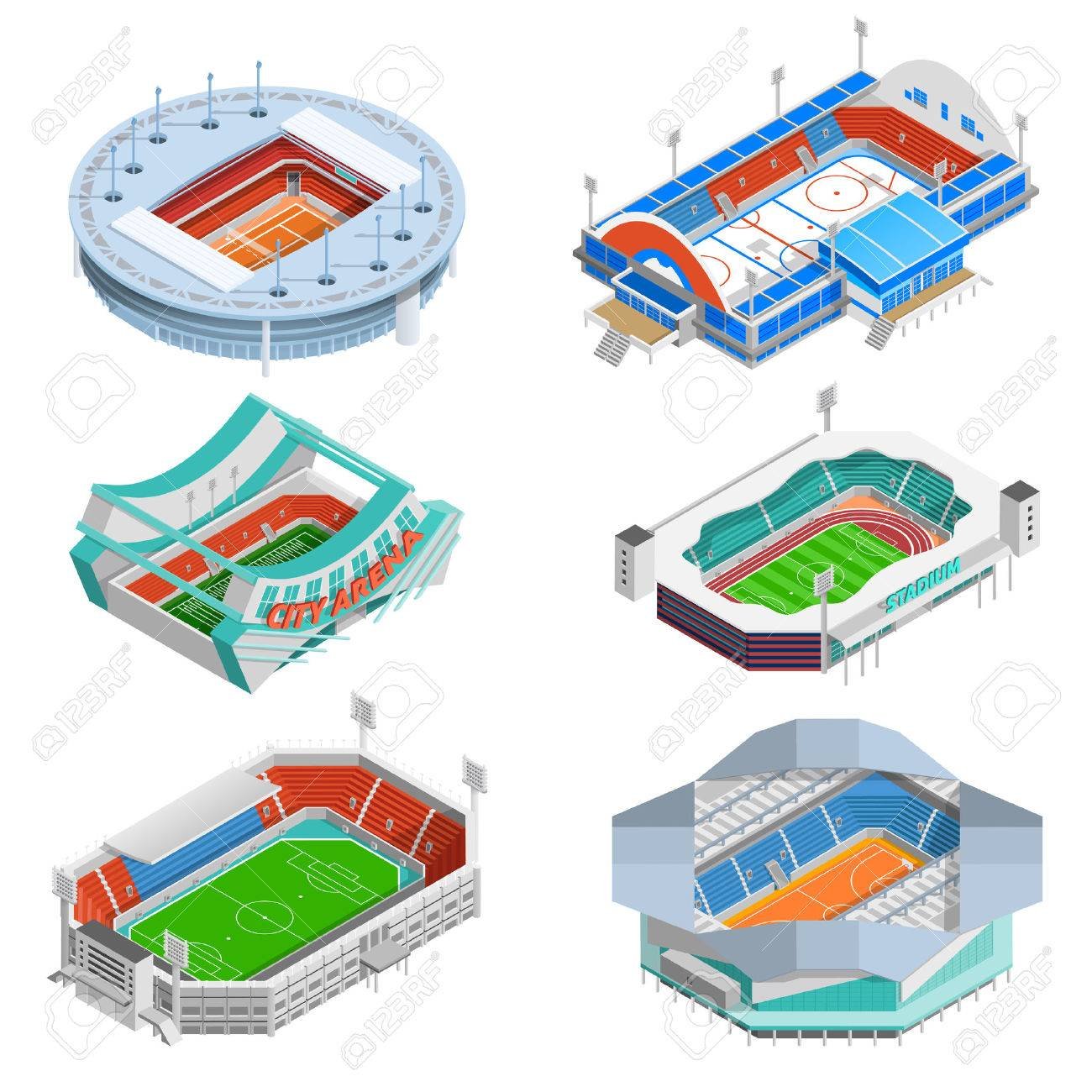 Sport stadium isometric icons set with football and hockey stadiums isolated vector illustration Stock Vector - 54765845