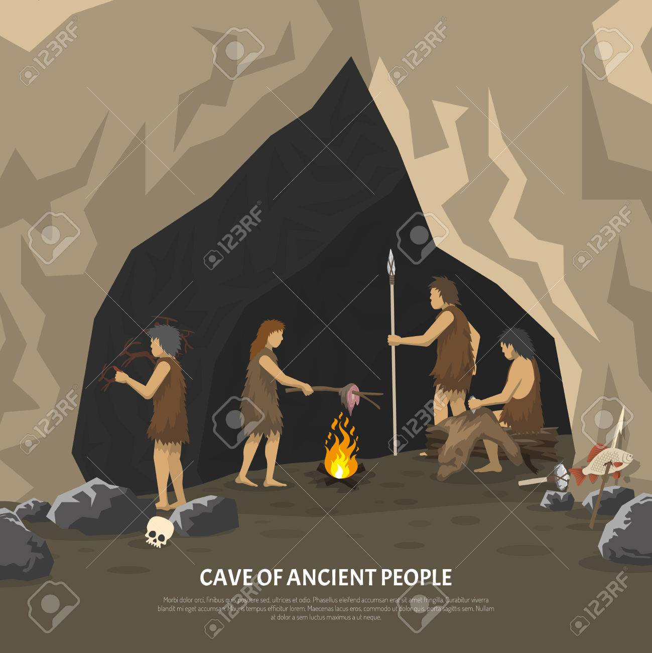 Color illustration showing activities ancient people in cave in stone age vector illustration - 54906942