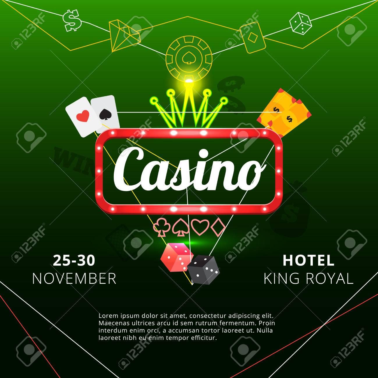 Invitation poster to hotel king royal casino with neon sign and invitation poster to hotel king royal casino with neon sign and crown on green background flat stopboris Gallery