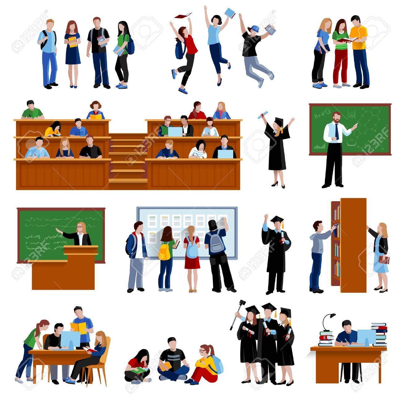 Students at the university in library in auditorium and after exam flat color icons set on white background isolated vector illustration - 55220586
