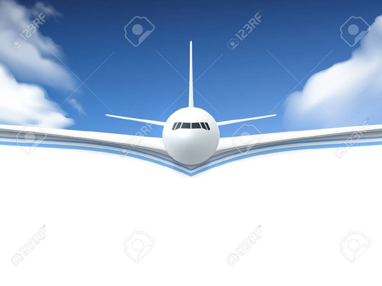 Realistic poster white Airplane flying in the sky with white bottom abstract background vector illustration Stock Vector - 55220583