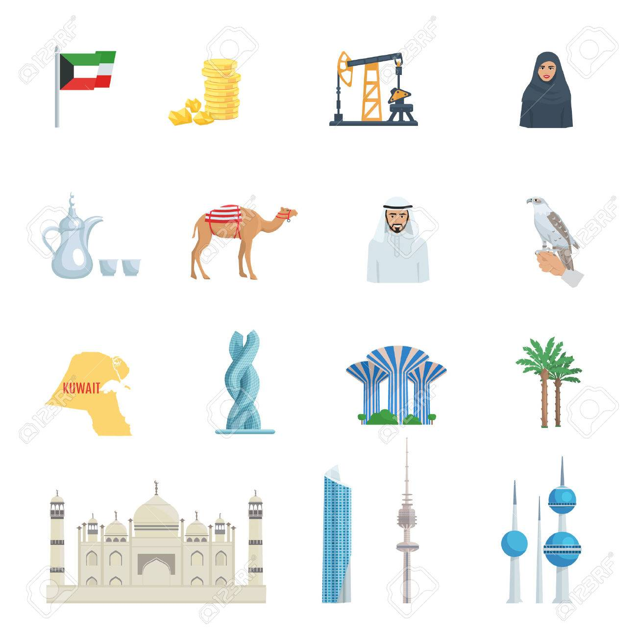 Kuwait culture flat icon set with traditional symbols costumes kuwait culture flat icon set with traditional symbols costumes buildings and animals vector illustration stock vector biocorpaavc Images