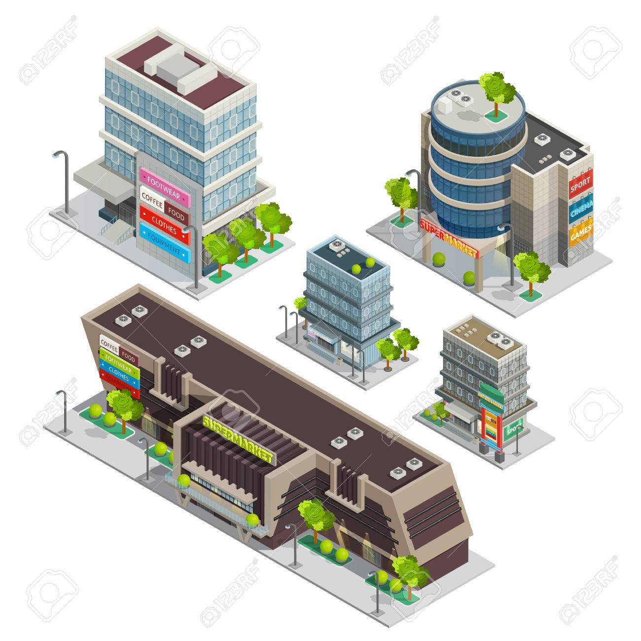 Modern city shopping center complex isometric composition with supermarket and department store buildings abstract vector illustration - 55219770