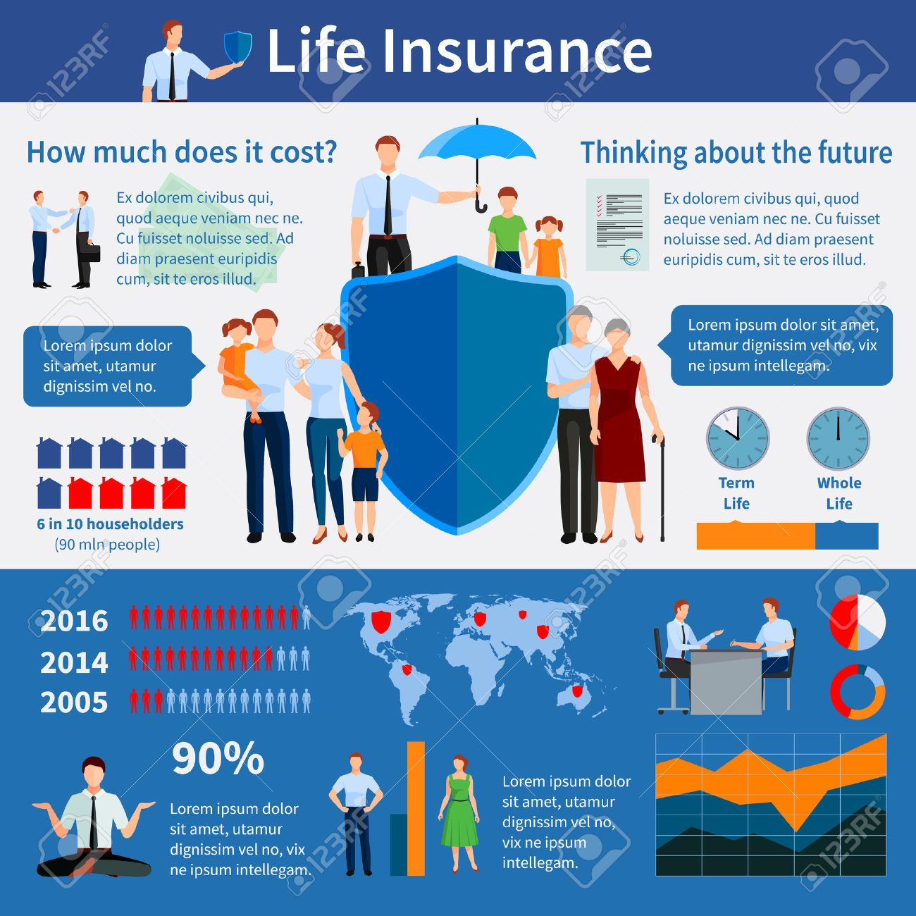 Life insurance infographics with world map families and agents.. on