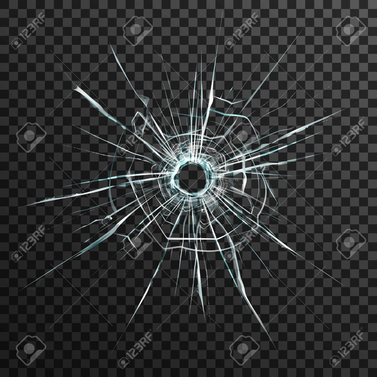 Bullet hole in transparent glass on abstract background with grey and black ornament vector illustration in realistic style. - 55265591