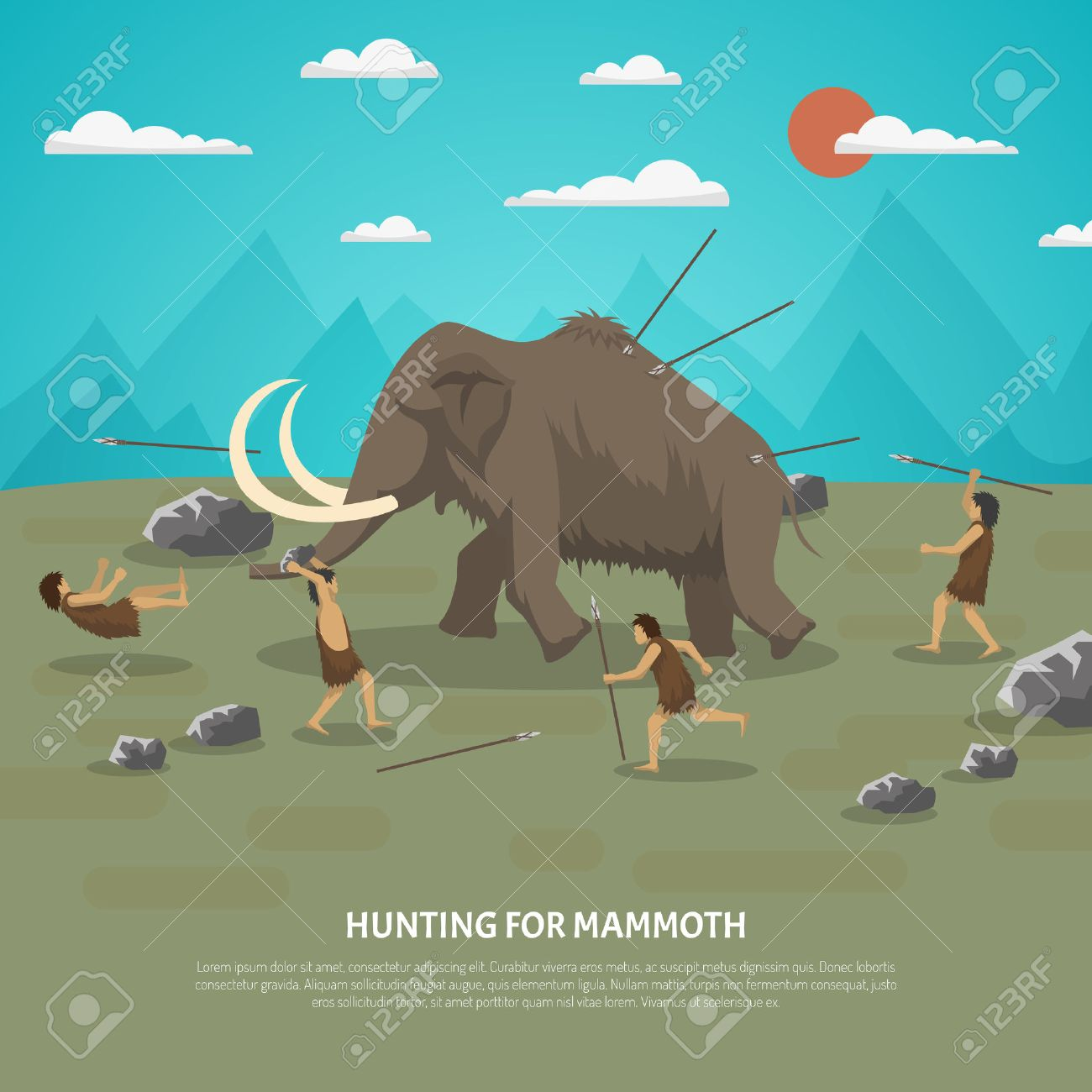 Color illustration showing hunting for mammoth caveman in prehistoric stone age with title vector illustration - 55977064