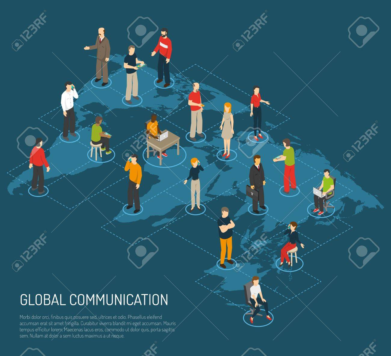 Isometric poster of people connected to global communication on isometric poster of people connected to global communication on world map dark blue background vector illustration gumiabroncs Images