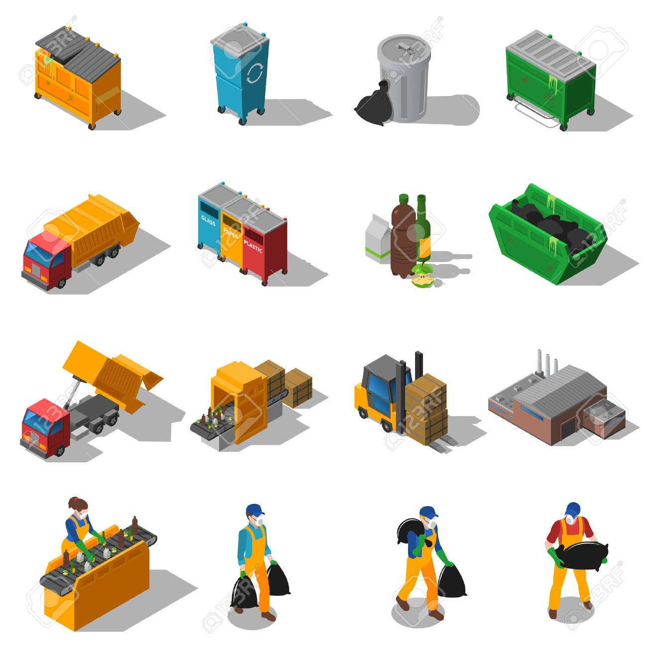 Garbage recycling and green waste collection services and facilities isometric icons collection abstract isolated shadow vector illustration - 55977324