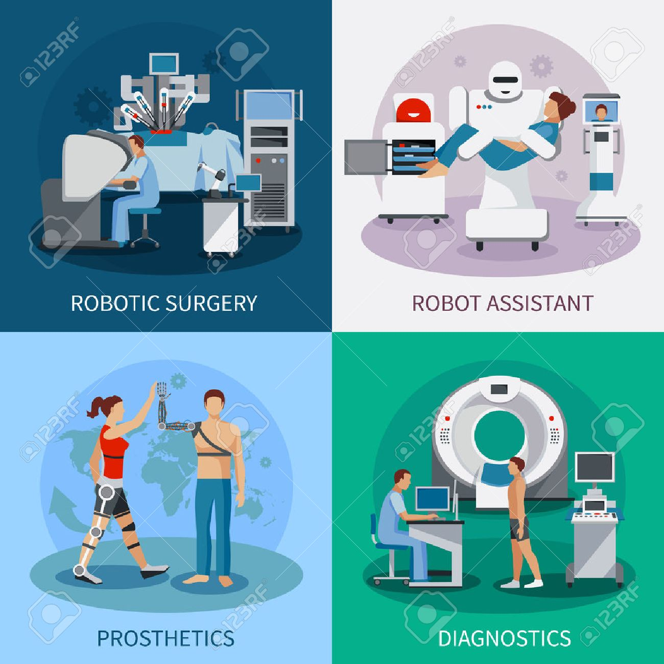 Bionic 2x2 design concept with robotic surgery diagnostic equipment orthopedic prosthetics compositions flat vector illustration - 56152577