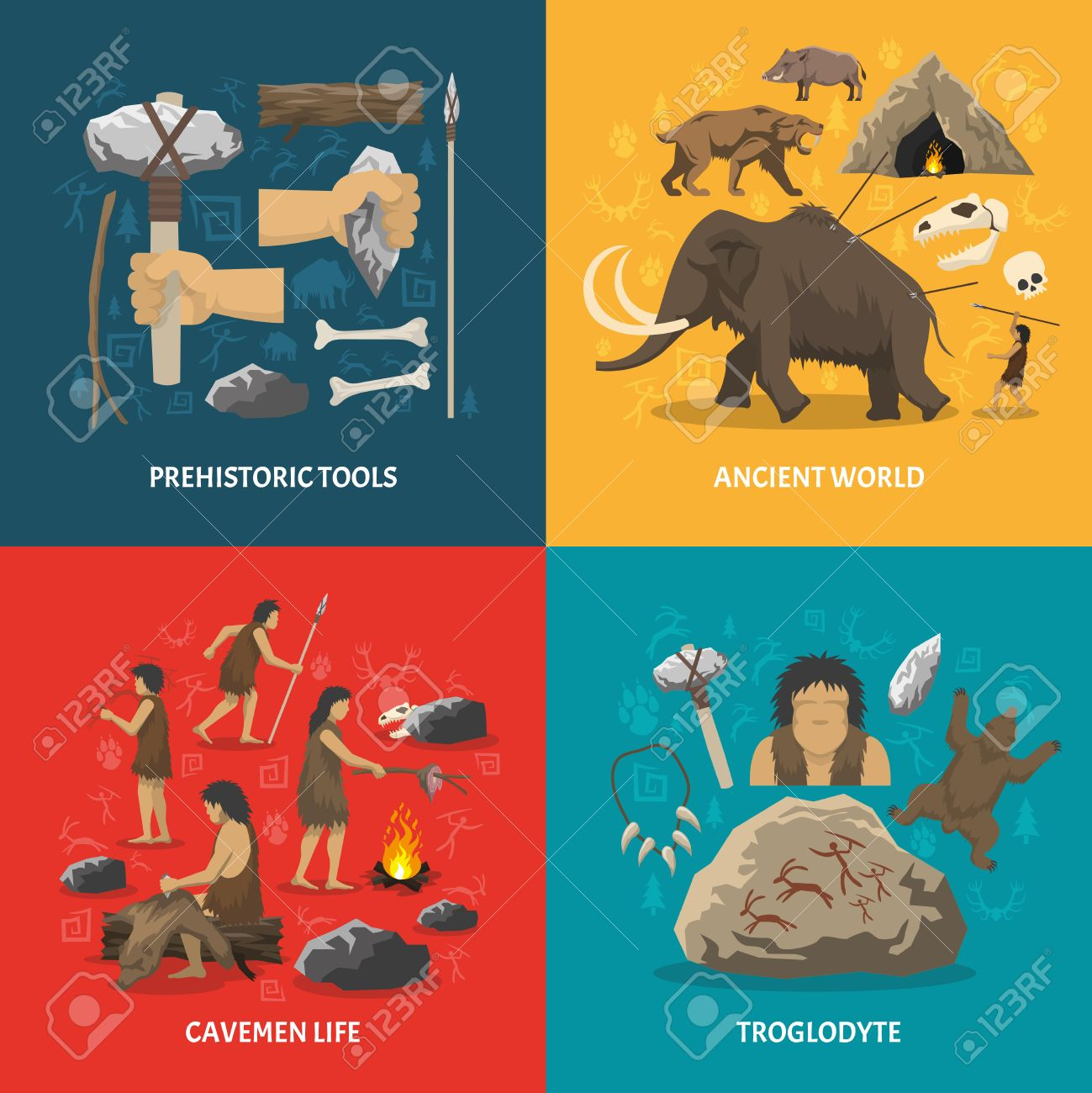 Color flat composition with title depicting prehistoric tools caveman life ancient world troglodyte isolated vector illustration - 56152622